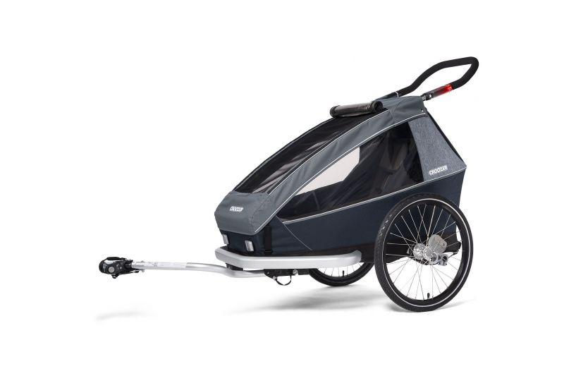 CROOZER KID FOR 1 PLUS Vaaya GRAPHITE BLUE 2020 3v1 odpružený vozík za kolo - 1