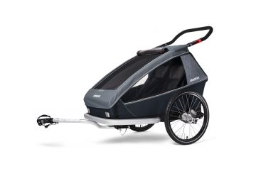 CROOZER KID FOR 2 PLUS Vaaya GRAPHITE BLUE 2020 3v1 odpružený vozík za kolo - 1