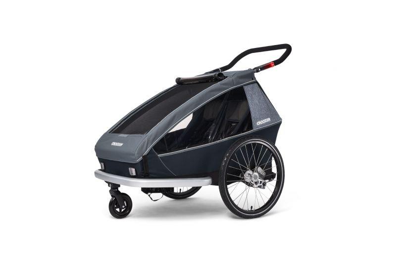 CROOZER KID FOR 2 PLUS Vaaya GRAPHITE BLUE 2020 3v1 odpružený vozík za kolo - 2