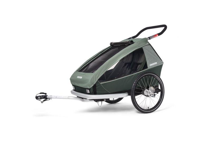CROOZER KID FOR 2 PLUS Vaaya JUNGLE GREEN 2020 3v1 odpružený vozík za kolo - 1