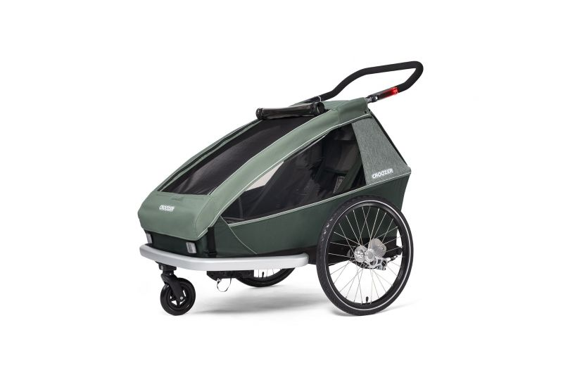 CROOZER KID FOR 2 PLUS Vaaya JUNGLE GREEN 2020 3v1 odpružený vozík za kolo - 2