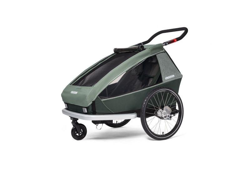 CROOZER KID FOR 2 PLUS Vaaya JUNGLE GREEN 2020 3v1 odpružený vozík za kolo - 2